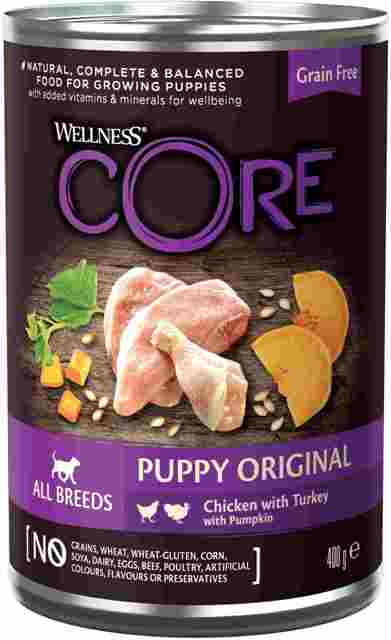 Веллнес Консервы Core All Breeds Puppy Original для щенков всех пород, Курица/Индейка/Тыква, 400 г, Wellness