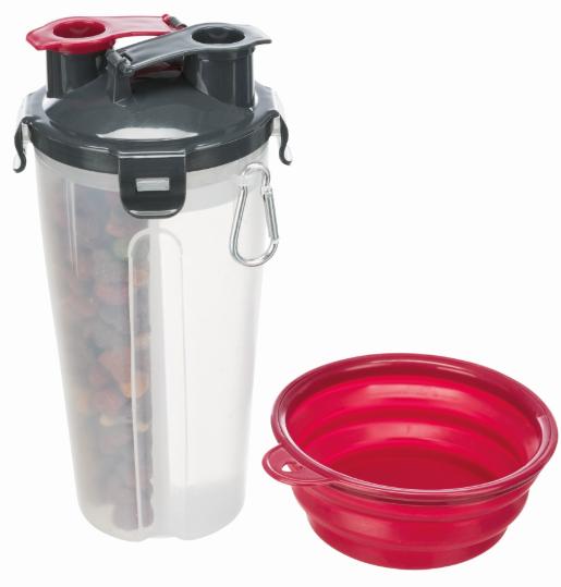 Трикси Контейнер для еды и воды 11*23 см, 2*350 мл, с силиконовой миской, Trixie