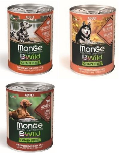 Консервы Монже BWild Grain Free для собак всех пород, в ассортименте, 400 г, Monge