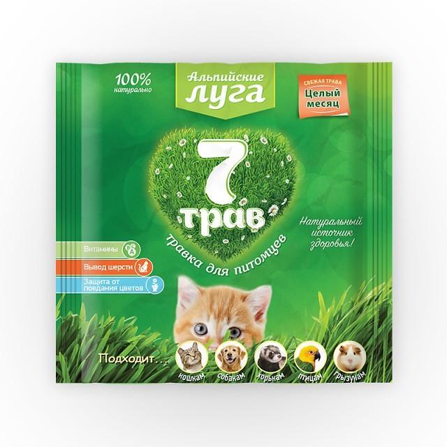 Травка Альпийские луга 7 трав универсальная для всех видов животных и птиц, пакет, в ассортименте, Экопром