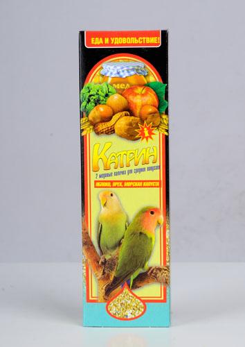 Катрин Палочки для средних попугаев Яблоко, Орех, морская капуста, 2 шт, 70г