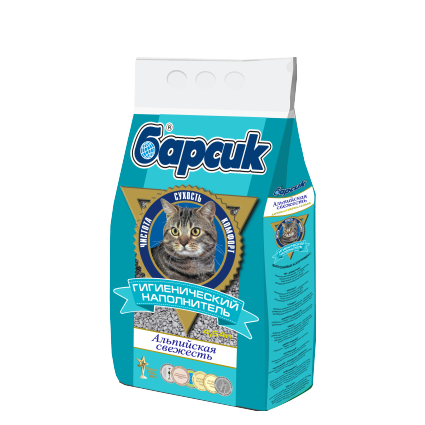 Барсик Альпийская свежесть гигиенический наполнитель для кошек, 4,54 л