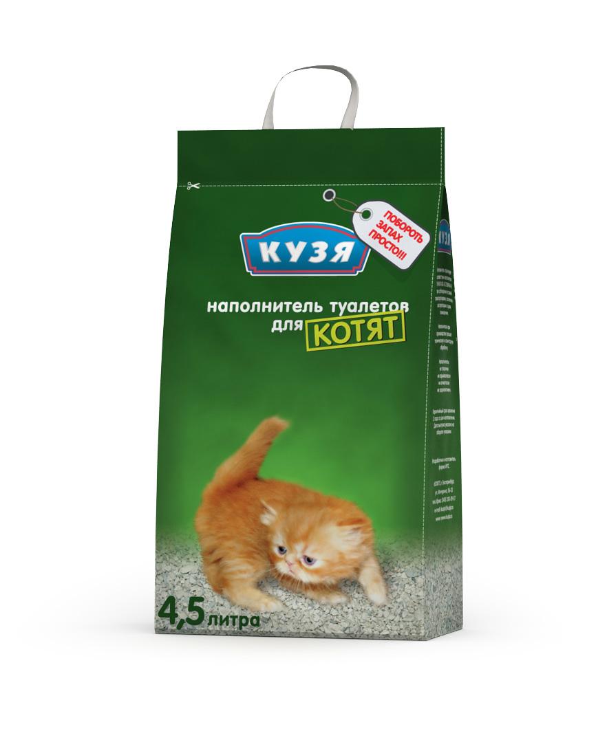 """Наполнитель """"Кузя"""" впитывающий для котят и некрупных кошек, 4,5 литра"""