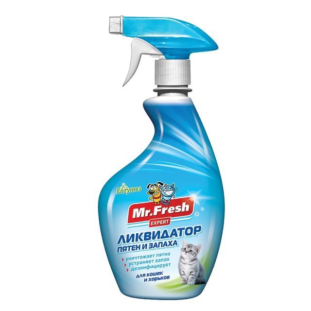 Мистер Фреш 3в1 Ликвидатор пятен и запаха для кошек и хорьков F403, 500 мл