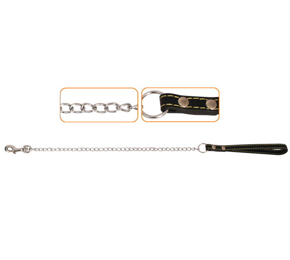Триол Поводок-цепь с кожаной ручкой, 7 размеров, Triol