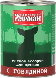 Четвероногий гурман Консервы для щенков Мясное ассорти, 340 г, в ассортименте