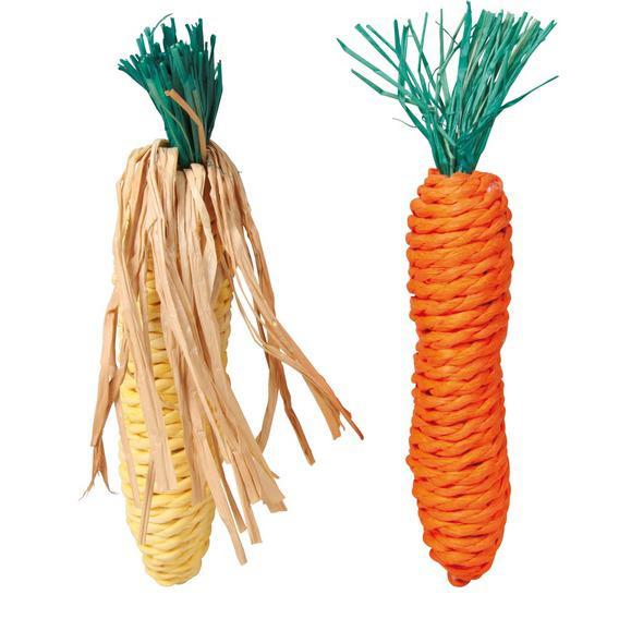 Трикси Набор игрушек Морковь и Кукуруза, сизаль, 15 см, 2 шт/уп., Trixie