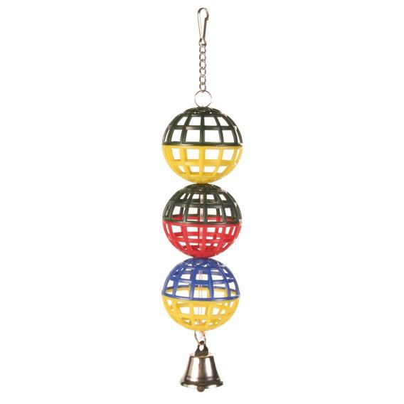 """Трикси Игрушка для птиц """"3 пластиковых шарика с колокольчиком"""", длина 16 см, диаметр шариков 5 см, Trixie"""