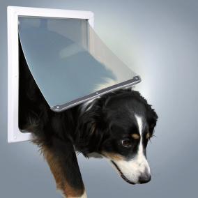 Трикси Дверца для собак и кошек, размер M-XL, 2 функции, 30,8*38,5 см, пластик, белый, Trixie