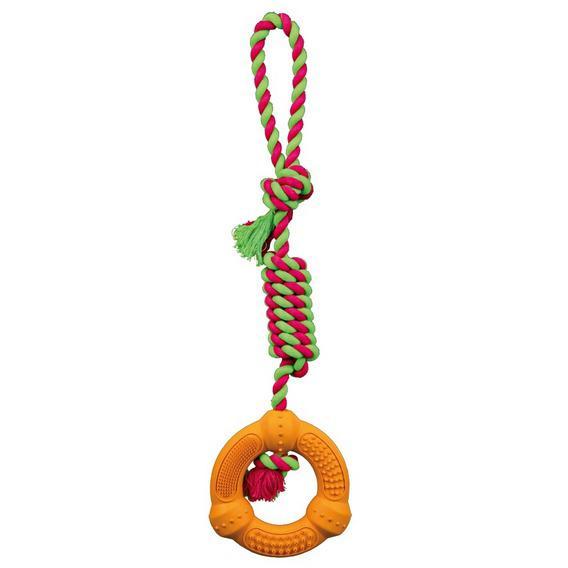 """Трикси Игрушка Denta Fun """"Кольцо на веревке"""", 12*41 см, каучук, хлопок, Trixie"""