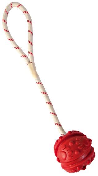Трикси Мяч на веревке, длина 35 см, в ассортименте, каучук/хлопок, Trixie