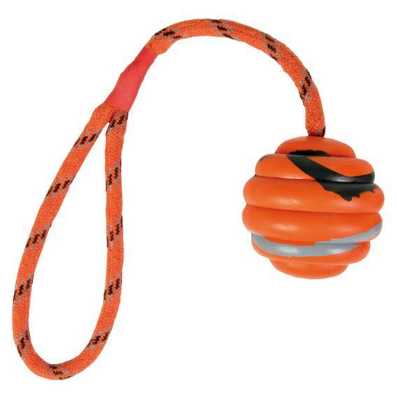 """Трикси Игрушка """"Мяч на веревке"""", диаметр 6 см, веревка 30 см, резина, оранжевый/черный, Trixie"""