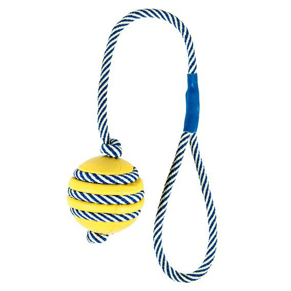 Трикси Мяч со светящейся веревкой, натуральная резина, 5см/40см, Trixie