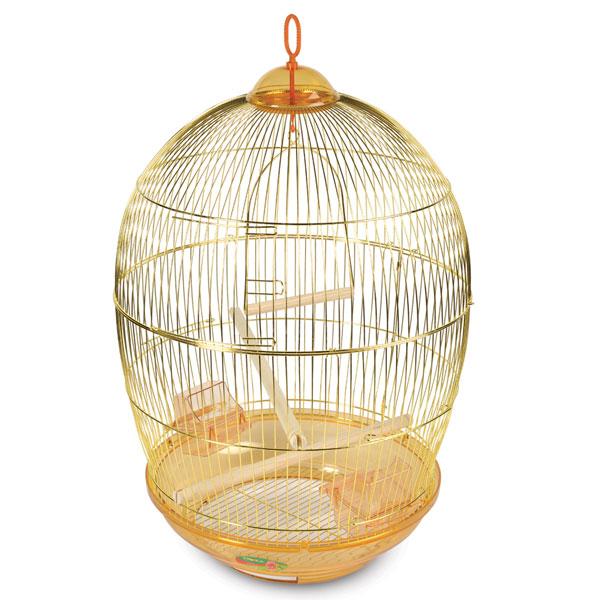 Триол Клетка G-480 для птиц золотая, диаметр 48 см, высота 68 см, Triol