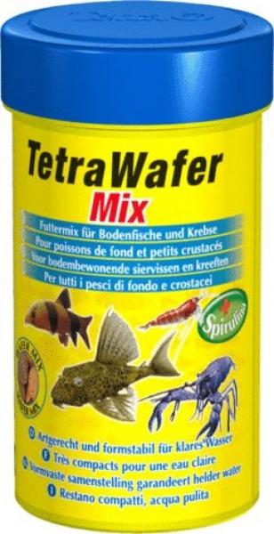 Тетра Корм TetraWafer Mix в виде чипсов с добавлением креветок для травоядных, хищных, донных рыб и ракообразных, в ассортименте, Tetra