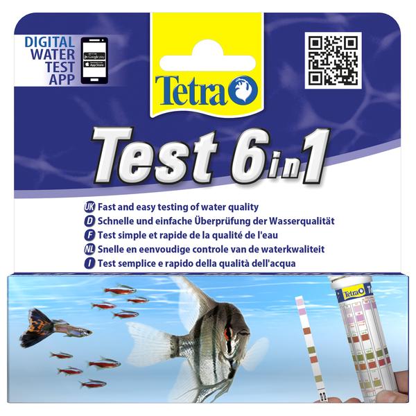 Тетра Тест 6 в 1 GH/kH/NO2/NO3/pH/Cl Полоски для пресной воды, 25 шт, Tetra