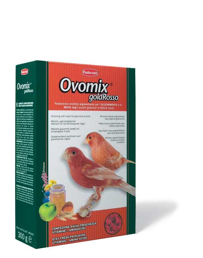 Падован Пигментирующий дополнительный корм для зерноядных птиц с красным оперением Ovomix Gold Rosso, в ассортименте, Padovan