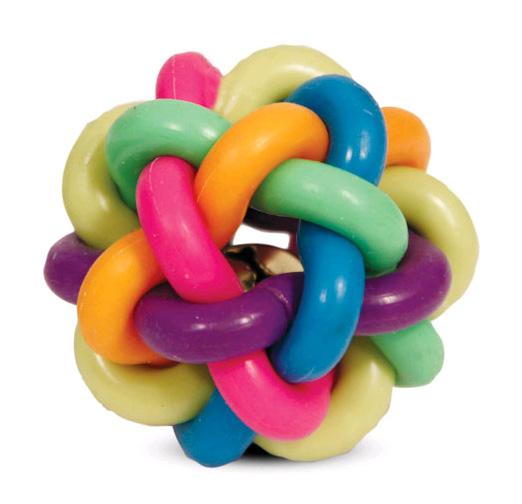 Триол Мяч плетеный из каучука с колокольчиком, 3 размера, Triol