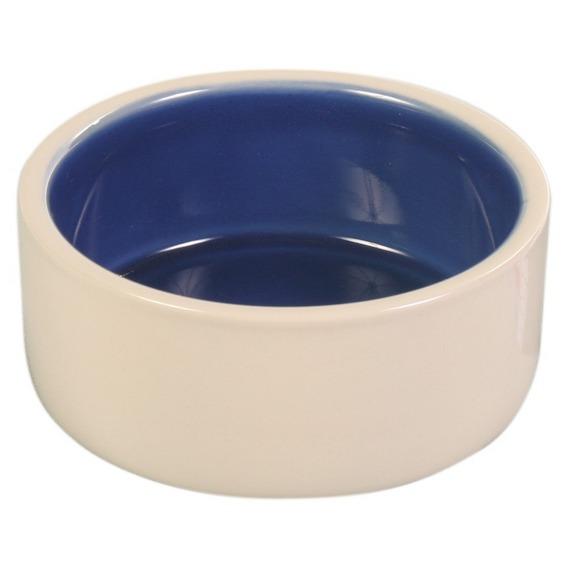 Трикси Миска керамическая для кошек и собак кремовая/голубая, 3 объема, Trixie