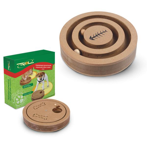 Триол Развивающая игрушка для собак и кошек 2в1, диаметр 20 см, высота 3,9 см, Triol