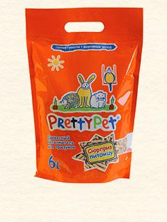 Претти Пэт Наполнитель древесный с морковными чипсами для грызунов и птиц, 6 л, PrettyPet