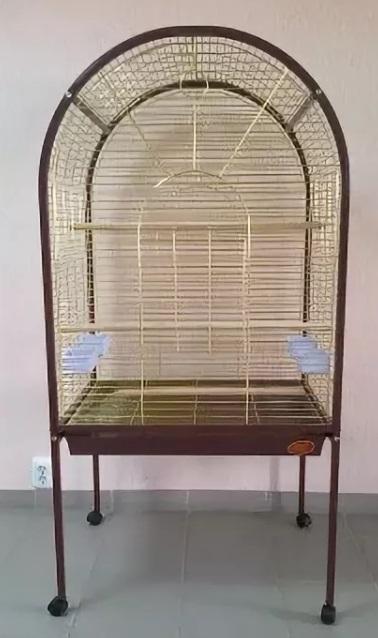 Вольер для птиц A02, коричнево-вишневая рамка/прутья золото, 78*60*156 см