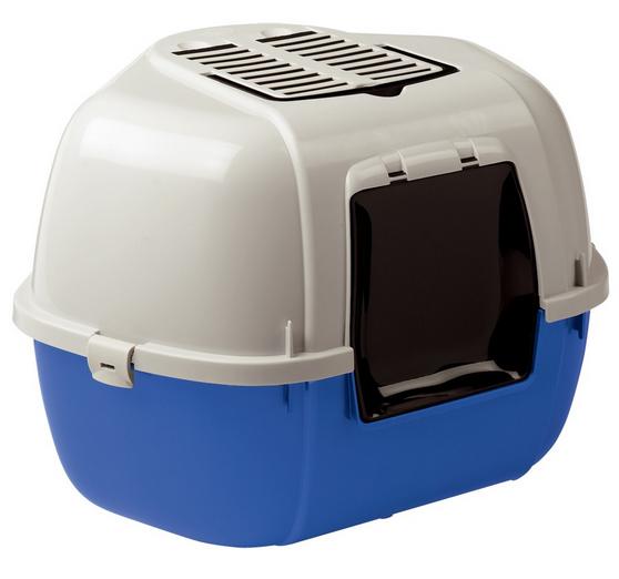 Ферпласт Туалет Mika закрытый угловой с угольным фильтром, 57,5*51,5*42 см, низ синий, Ferplast
