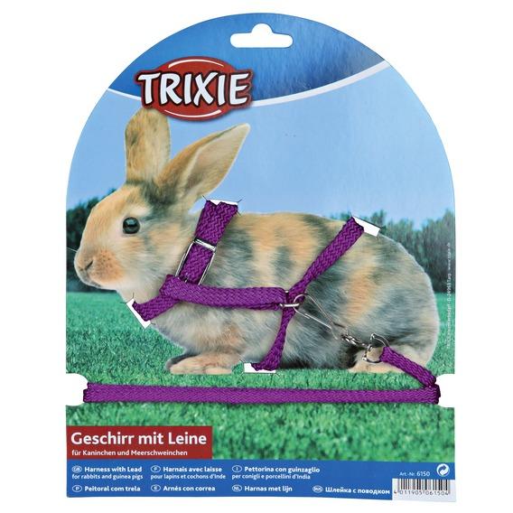 Трикси Шлейка с поводком для кролика, морской свинки, нейлон, 8мм/1,3м, Trixie