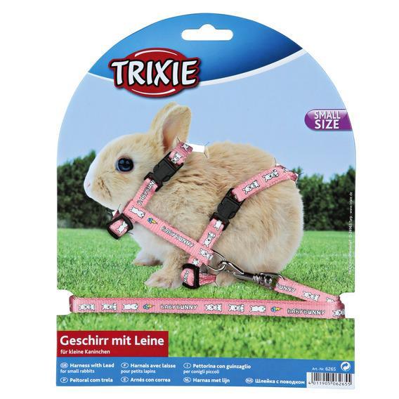 Трикси Шлейка с поводком для крольчат, нейлон, 8мм/1,25м, Trixie