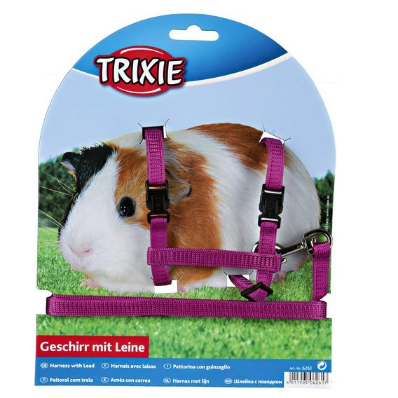 Трикси Шлейка с поводком для морских свинок, нейлон, 10мм/1,25м, Trixie