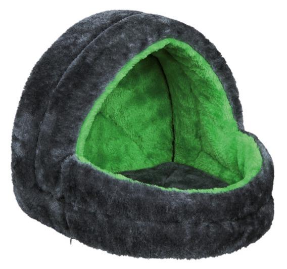 Трикси Домик-лежак для для хорьков и грызунов, 25*25*29 см, плюш, серый/зеленый, Trixie