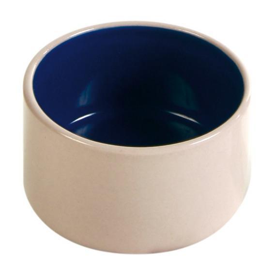 Трикси Миска керамическая белая с синим дном, 100 мл, диаметр 7 см, Trixie