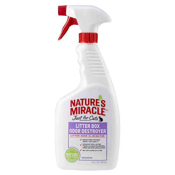 8in1 Спрей для устранения запаха кошачьего туалета Litter Box Odor Destroyer, 709 мл, Natures Miracle