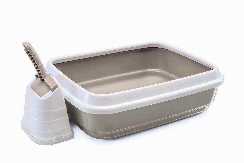 Имак Туалет-лоток Duo с бортом и совком на подставке, 48*40*15 см, в ассортименте, Imac