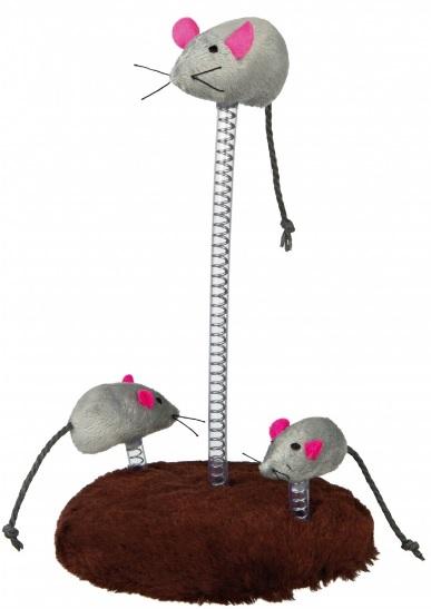 """Трикси Игрушка для кошек """"Мышь на пружине"""", диаметр 15 см, высота 24 см, в ассортименте, Trixie"""