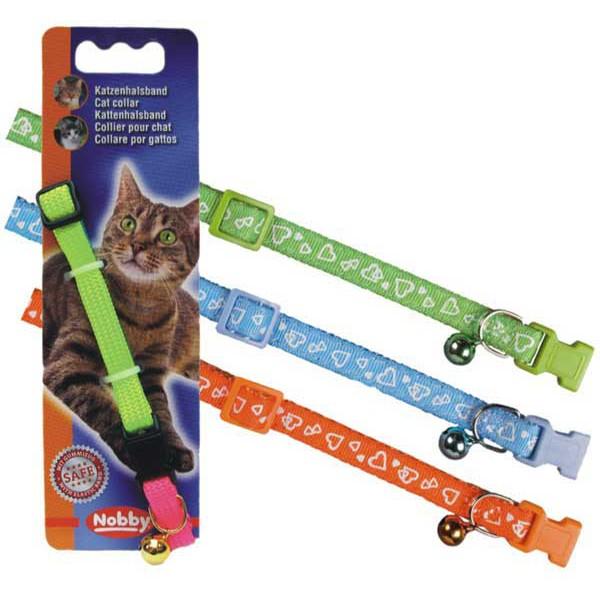 Нобби Ошейник для кошек Сердечки, нейлон, 3 цвета, ширина 1 см, длина 20-30 см, Nobby
