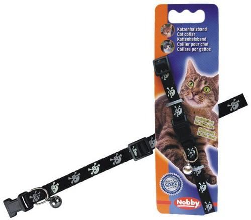 Нобби Ошейник для кошек Пират черный, нейлон, ширина 1 см, длина 20-30 см, Nobby