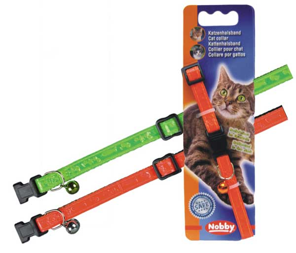 Нобби Ошейник светоотражающий для кошек Неон, нейлон, 2 цвета, ширина 1 см, длина 20-30 см, Nobby