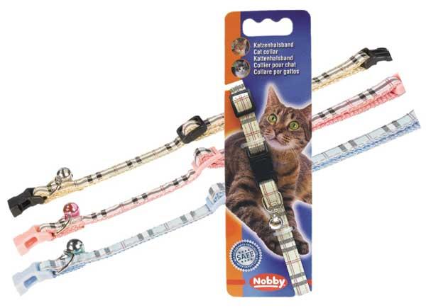 Нобби Ошейник для кошек Тартан, нейлон, 3 цвета, ширина 1 см, длина 20-30 см, Nobby
