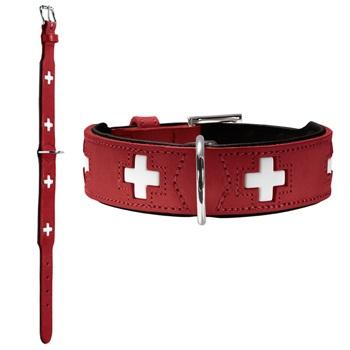 Хантер Ошейник для собак Swiss, натуральная кожа, в ассортименте, красный, Hunter