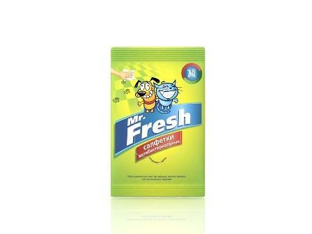 Мистер Фреш Салфетки для лап антибактериальные влажные, для кошек и собак, 15 шт, Mr.Fresh