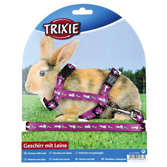 Трикси Шлейка с поводком для кролика, нейлон, обхват груди 25–44 см, ширина ремешков 1 см, Trixie