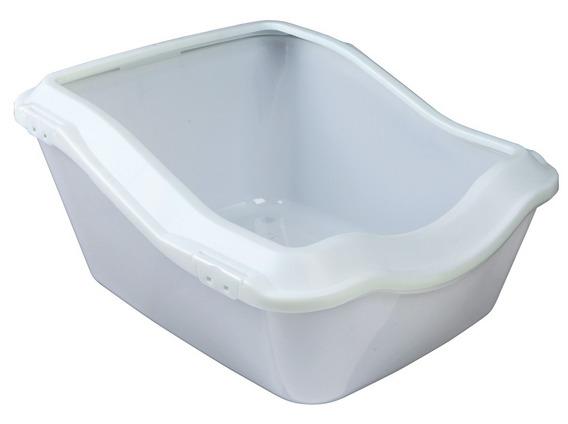 Трикси Туалет-лоток с высоким задним бортиком, 45*54*21 (29) см, белый, Trixie
