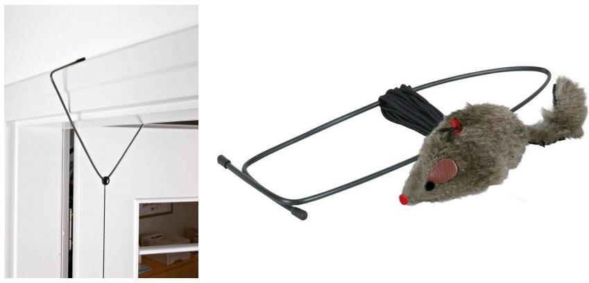 Трикси Игрушка для кошек Мышь на резинке, 8 см, крепится в дверной проём или на лестнице, Trixie