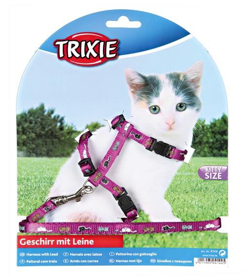 Трикси Шлейка с поводком для котят, с рисунком, нейлон, Trixie