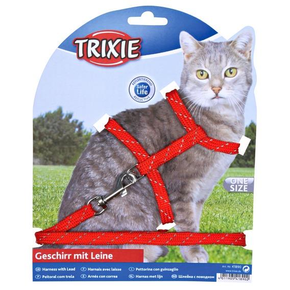 Трикси Шлейка с поводком для кошек светоотражающая, нейлон, 2 цвета, Trixie