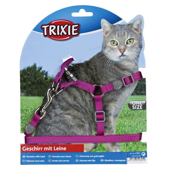 Трикси Шлейка с поводком для кошек Premium, нейлон, Trixie