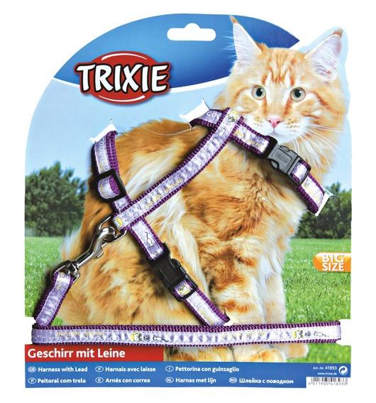 Трикси Шлейка с поводком для крупных кошек, нейлон, Trixie