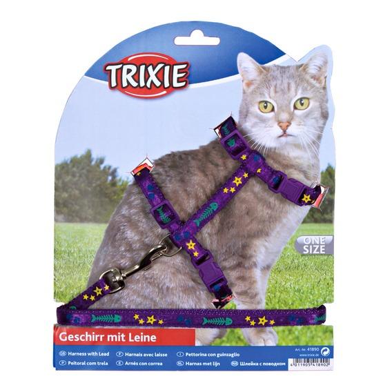 Трикси Шлейка с поводком для кошек, с рисунком, нейлон, в ассортименте, Trixie