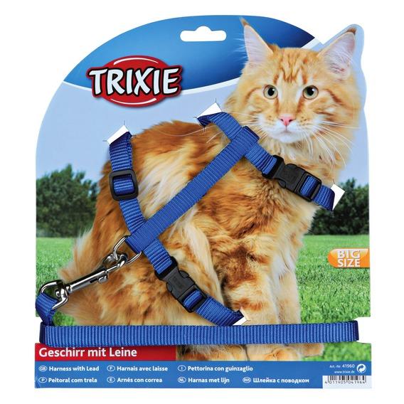 Трикси Шлейка поводком для крупных кошек, 34-57 см, нейлон, цвета в ассортименте, Trixie